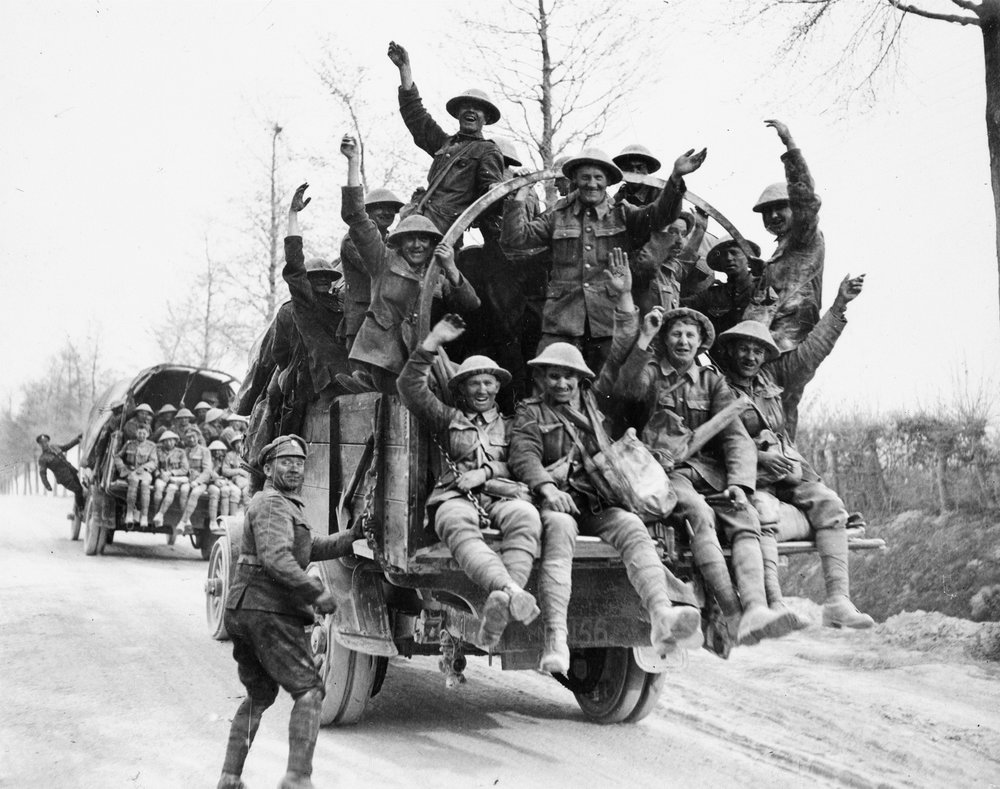 Canadian soldiers catch a lift after the fighting at Vimy Ridge © IWM CO 1405