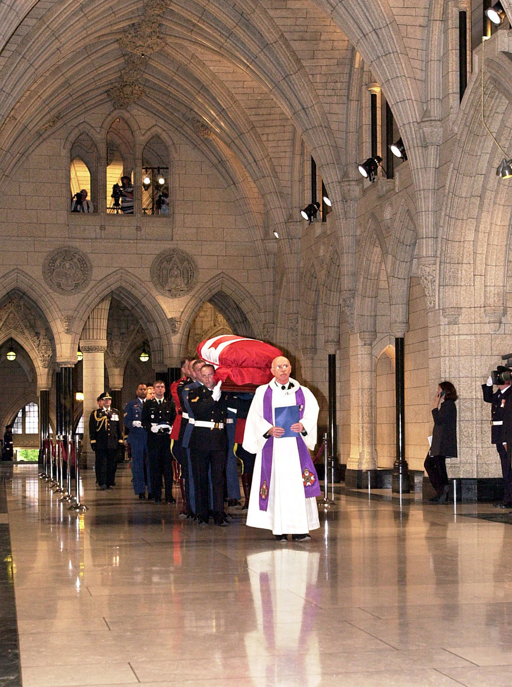 The Canadian Unknown Soldier is laid to rest in a special tomb at the national war memorial, Ottowa, Canada.
