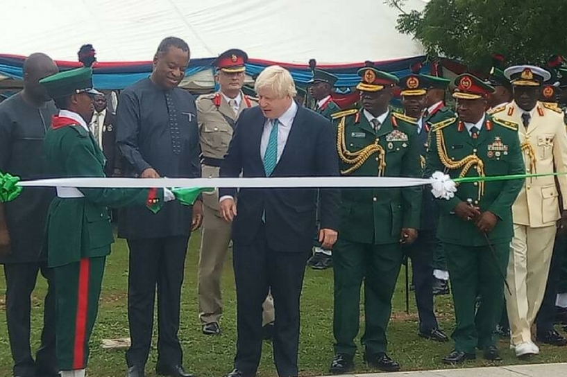 Boris Johnson at the Abuja Memorial in 2017