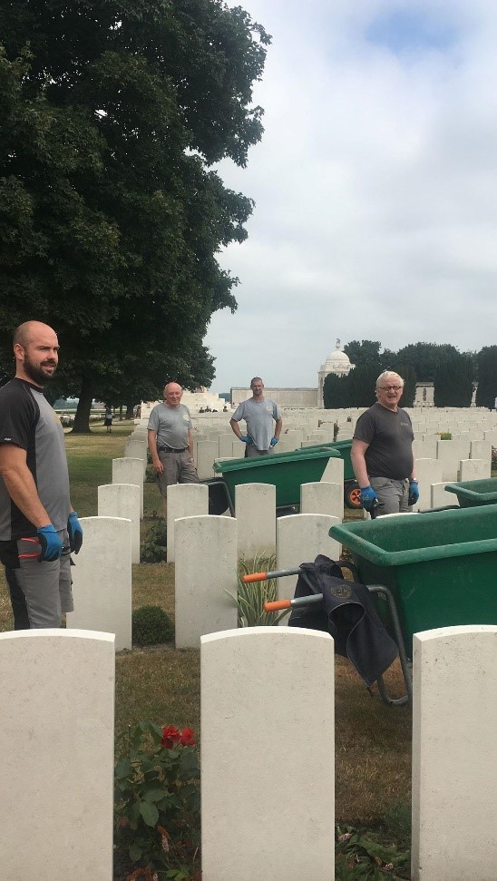 Tyne Cot gardeners: Matthieu, John, Birger and Dirk