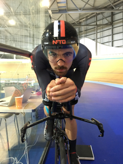 Edmund Bradbury testing with Veloptima at the Derby Arena.