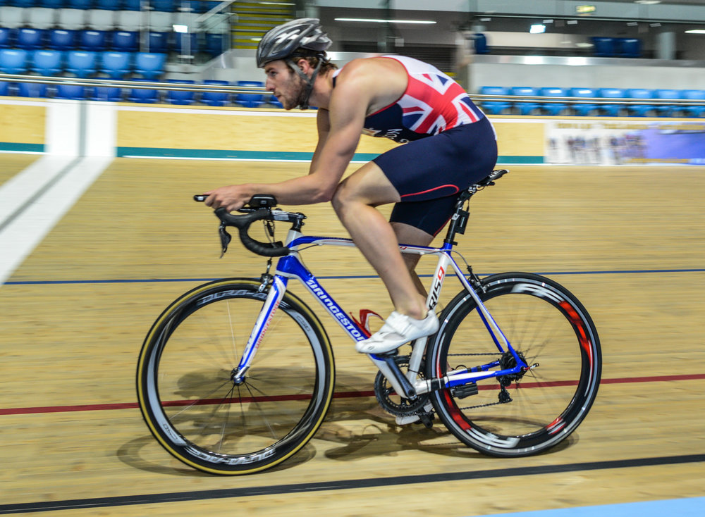Gordon Benson testing different positions at Derby Arena prior to the Rio Olympics
