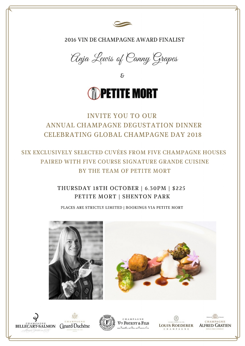 Annual Champagne Degustation Dinner at Petite Mort Shenton Park with Canny Grapes