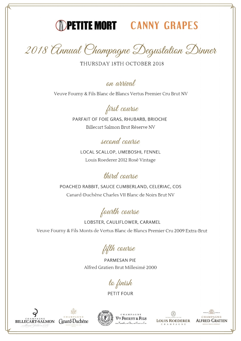 Annual Champagne Degustation Dinner menu by Petite Mort Shenton Park, Perth , Western Australia