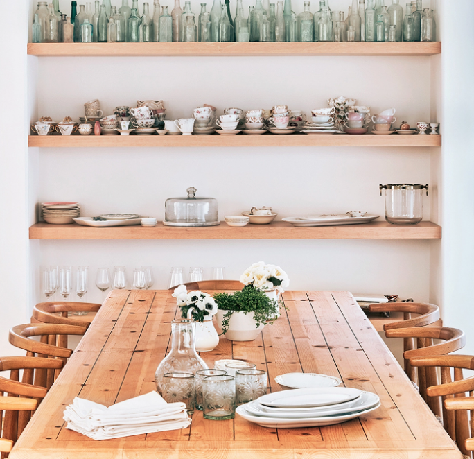 I'm just obsessed with the use of shelves in this home!
