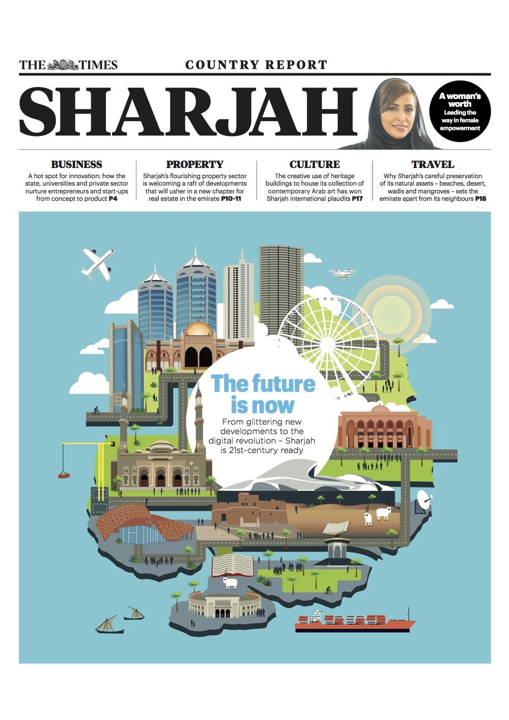 The Times newspaper supplement on Sharjah, one of the UAE's lesser-known destinations. Two stories, including a link from Page 1