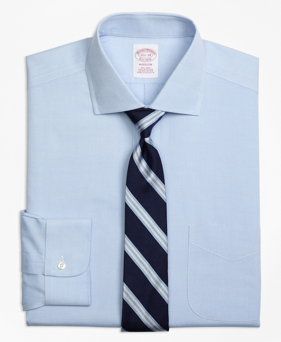 This wider spread collar works well for you gents with longer + leaner faces. (   Brooks Brothers   )