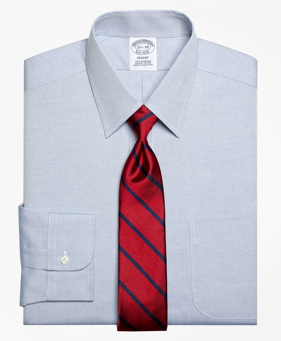 A narrower spread shirt works well if your face is shorter + wider. (   Brooks Brothers   )