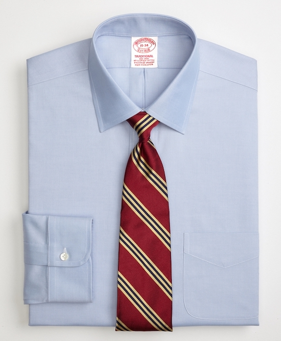 This semi-spread collar is a good middle of the road option. ( Brooks Brothers )