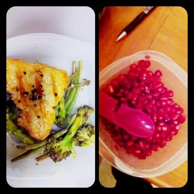 My lunch: Teriyaki salmon, vegetables and pomegranate for dessert