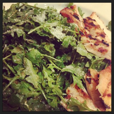 Arugula salad with chicken at JFK airport. After 10 days of no salad!
