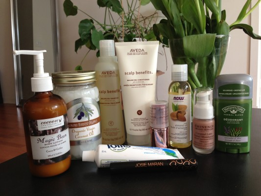 Body lotion, coconut oil, toothpaste, deodorant, shampoo, blush and tinted moisturizer.