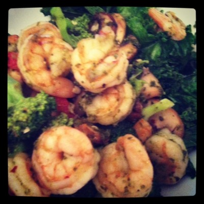 One of Saghi's meals: shrimp and vegetables, sauteed in coconut oil. Simple!