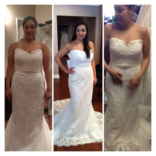 Saghi when she first found her dress (left), at a midway point and finally this past May (right).