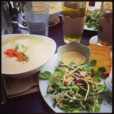 Soup, Superfood Salad and Cornbread Combo.