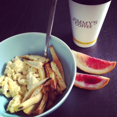"Scrambled eggs and parsnip ""fries"""