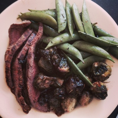 Steak, roasted brussel sprouts (fave!) and snow peas