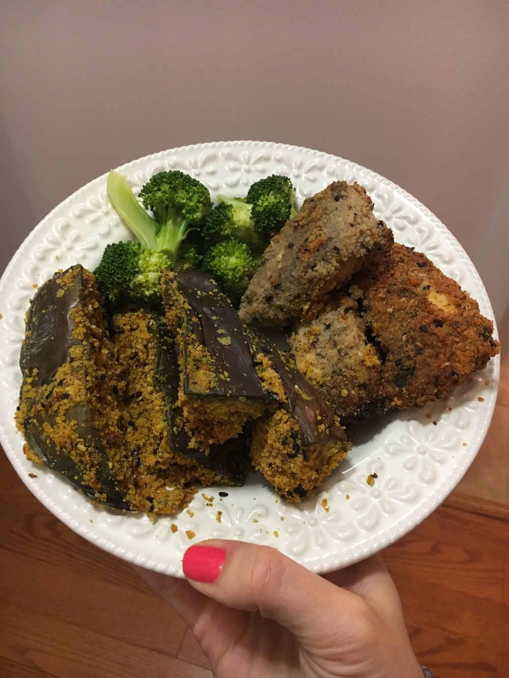 "Chicken fingers, eggplant ""fingers"" and steamed broccoli"