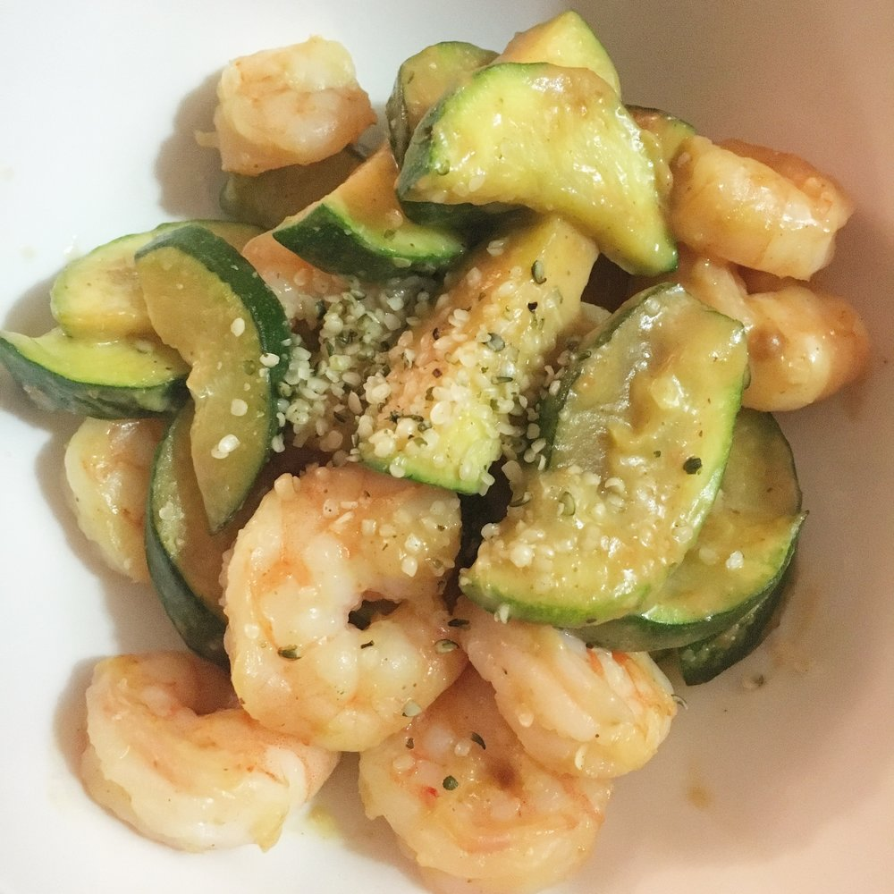 A simple shrimp and zucchini stirfry, a little peanut butter and tamari.