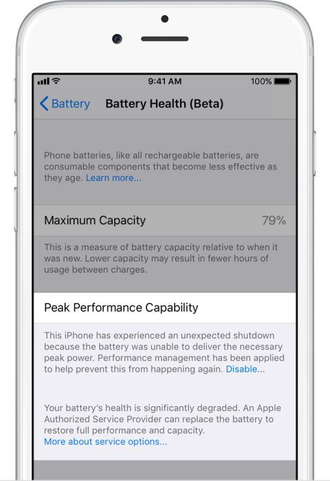 IOS11.3 Beta Battery Health