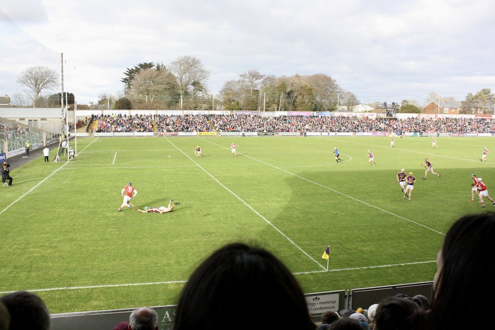 In game action! Wexford, is purple and gold. The stadium holds 25,000 people!
