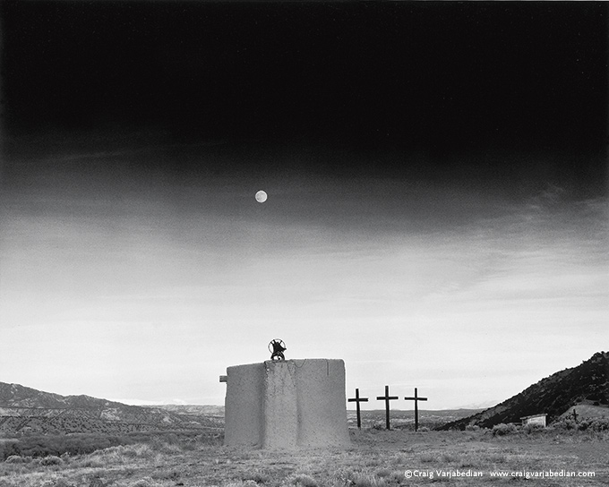 Moonrise Over Penitente Morada, Dusk, Late Autumn, New Mexico 1991 Photograph ©Craig Varjabedian  All Rights Reserved