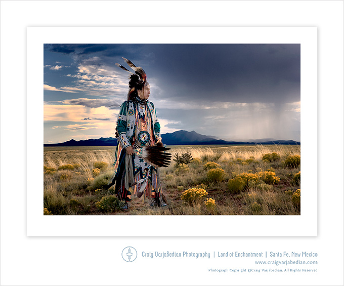 Omaha Indian Dancer Anthony Parker and Approaching Storm, Sunset,San Marcos, New Mexico 2007 Photograph ©Craig Varjabedian