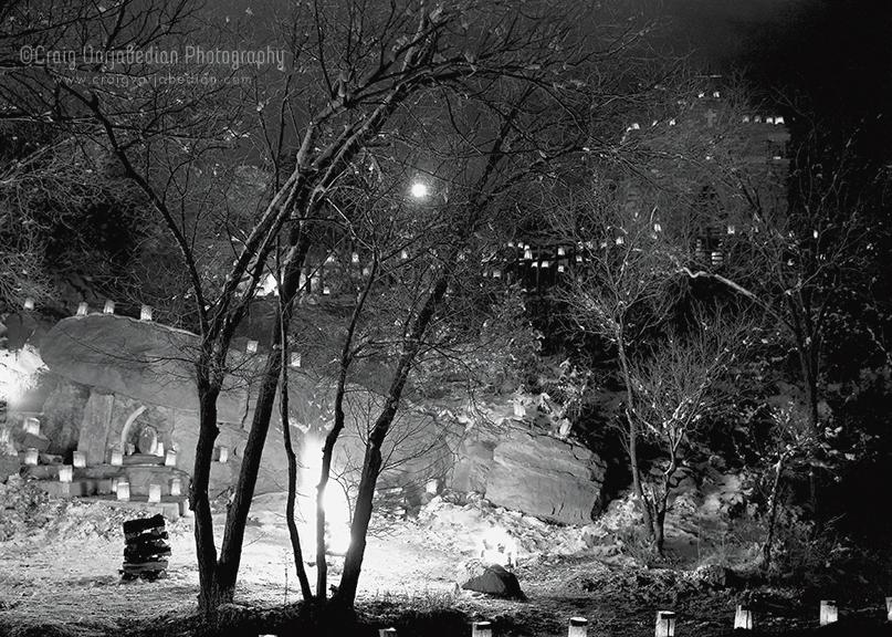 Farolitos and Luminarias, Christmas Eve, Santa Fe, New Mexico Photograph ©Craig Varjabedian