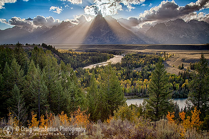 The Grand Tetons and the Snake River, Autumn, Sunset, Grand Tetons National Park  2013 Photograph by ©Craig Varjabedian