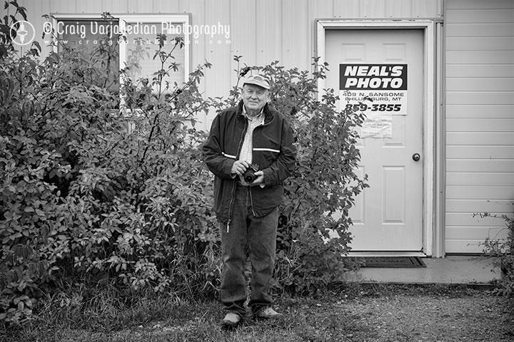 Steve Neal, Proprietor, Neal's Photo, Philipsburg, Montana 2013  Photography by ©Craig Varjabedian
