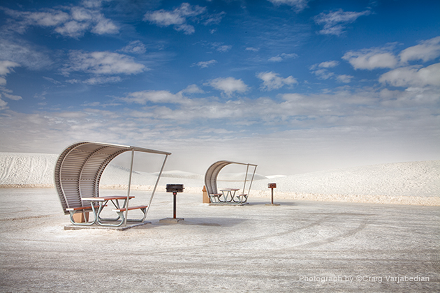 Canopied Picnic Tables, White Sands National Monument, Amamogordo, New Mexico  2014  Photograph by ©Craig Varjabedian