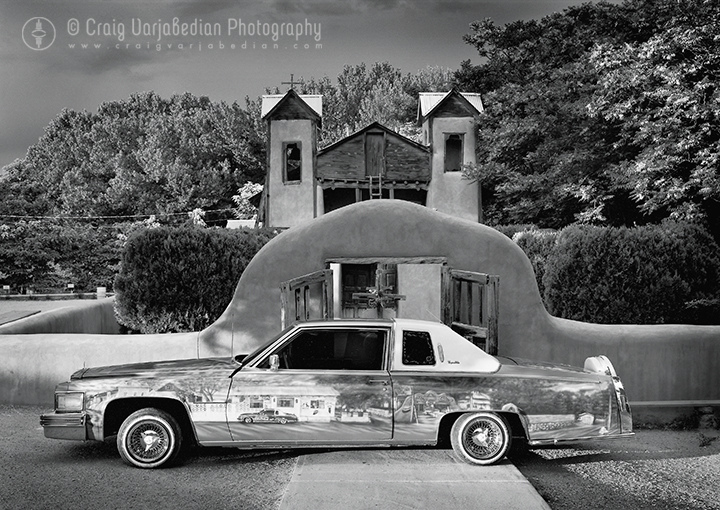 A Low-Rider Cadillac named Chimayo, Santuario de Chimayo, New Mexico  1997 Photograph Copyright ©Craig Varjabedian