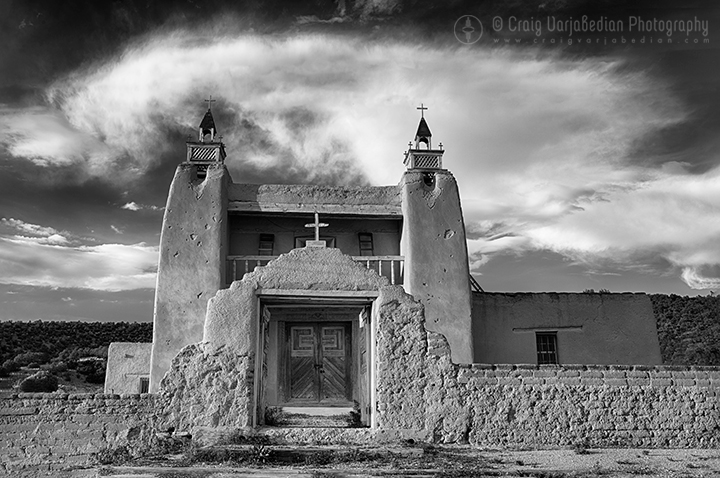 San José de Gracia Church, Late afternoon light, Las Trampas, New Mexico 2014    Photograph ©Craig Varjabedian