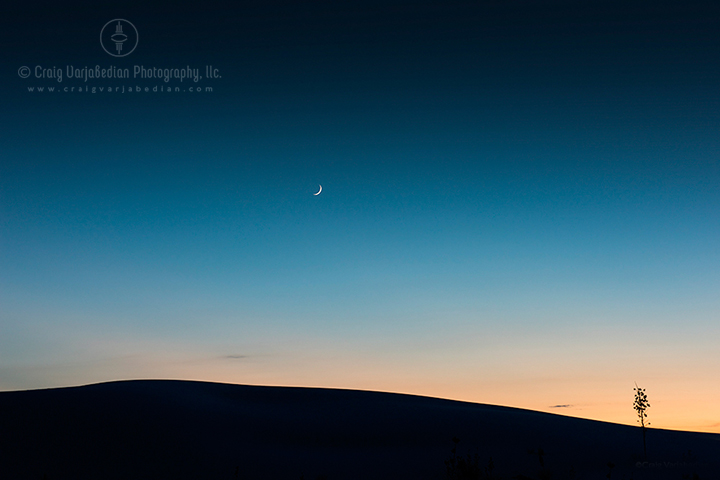 Under a Crescent Moon, Autumn, White Sands National Monument, Alamogordo, New Mexico 2014   Photograph by ©Craig Varjabedian