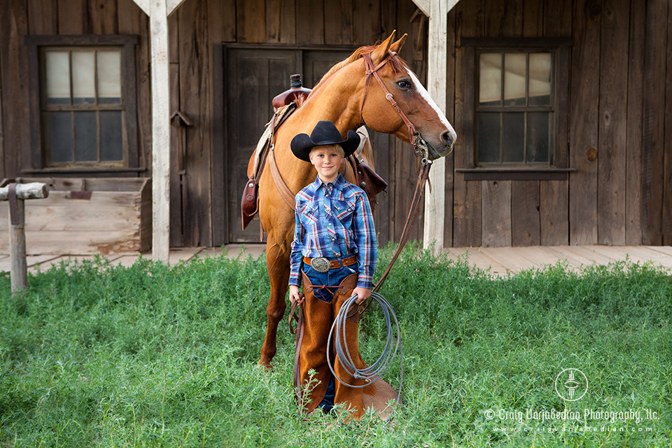 Weston and his horse Cowboy, nr. Santa Fe, New Mexico  2014  Photograph by ©Craig Varjabedian