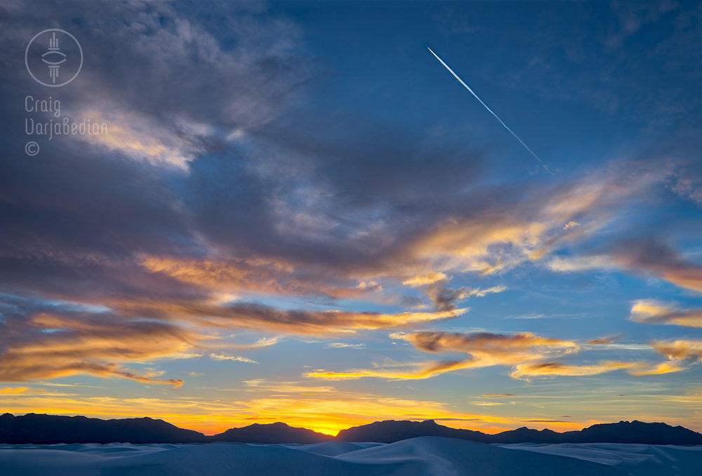 Photograph: Air Force Contrail Over White Sands National Monument, Sunset, Alamogordo, New Mexico