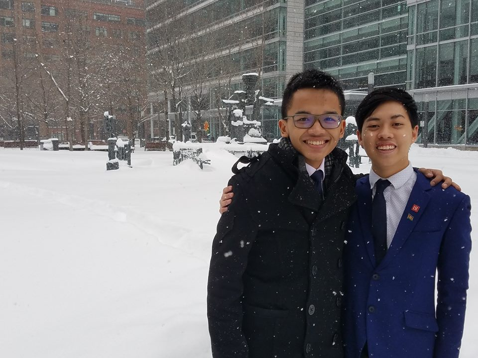 Treasurer Naufal Yudiana and MUN Director Melvin Kan