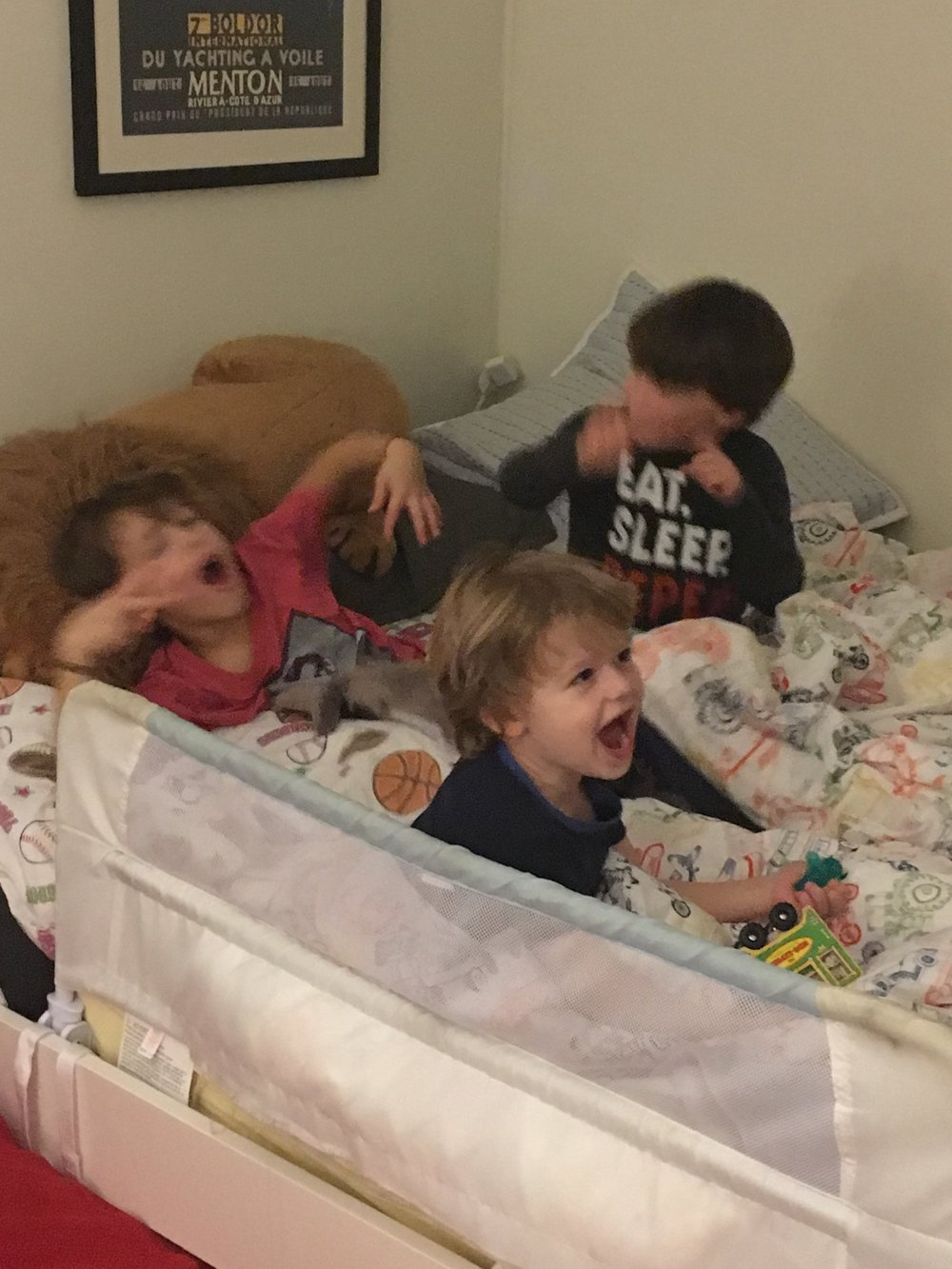 All 3 had to break in the big boy bed, of course!