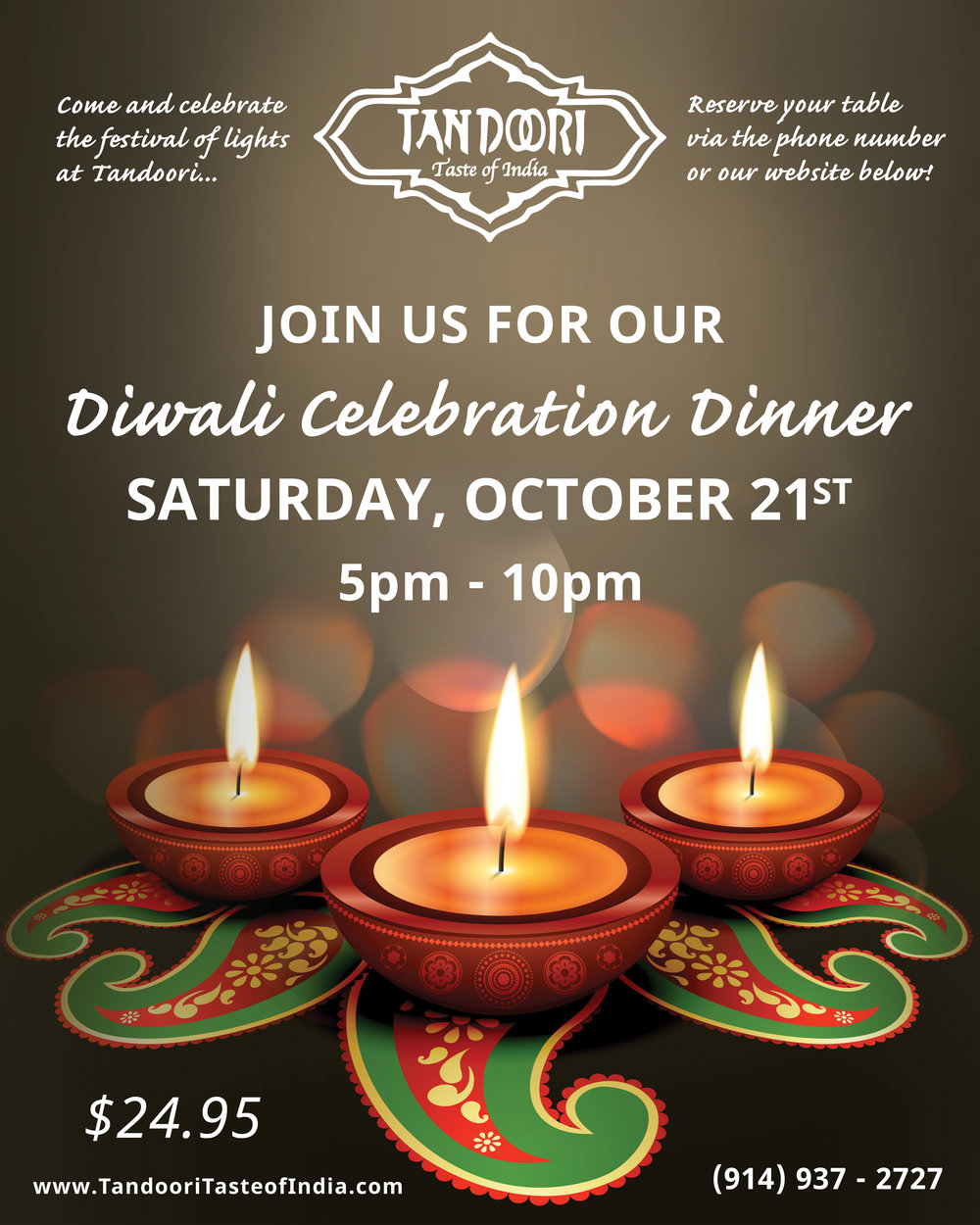 Diwali Dinner Celebration On Saturday 10/21/17 — Tandoori for Deepavali 2017 Celebration  66plt