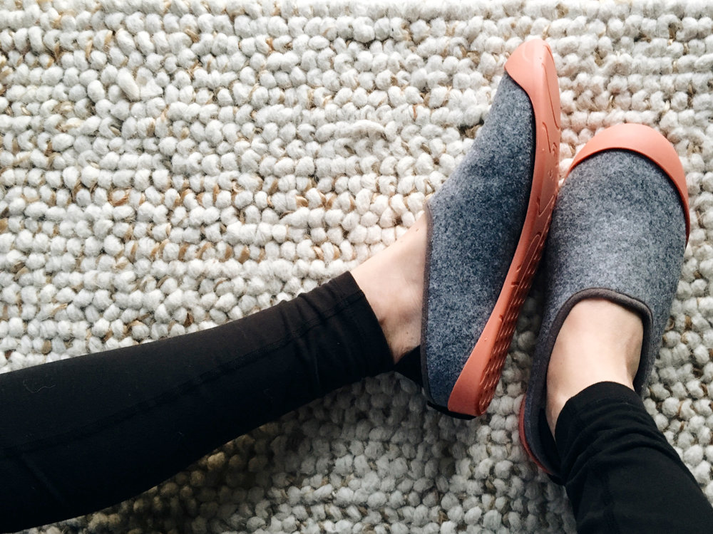 Mahabis classic slipper, reinvented. Combining felt and a neoprene heel with sheepskin lining for indoors,  transformed for outdoors with a removable sole which comes in a range of colors.