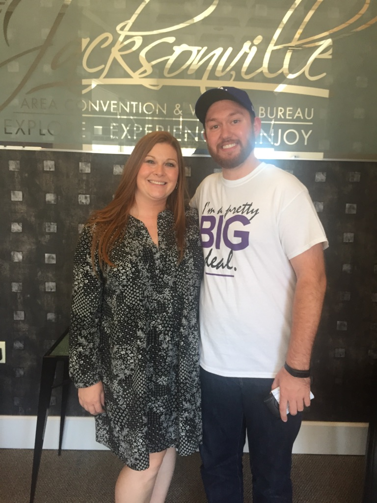 Brittany Henry (left) of the Jacksonville Area Convention & Visitor's Bureau with Ryan Flynn, Fundraising & Social Media Specialist for Big Brothers Big Sisters of West Central Illinois.