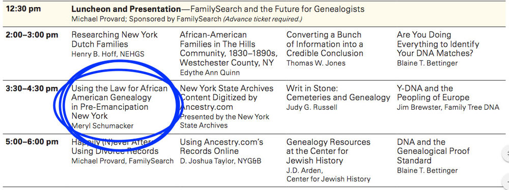 My talk is listed in the New York State Family History Conference program, shown here. The blue circle around my talk is  not in the actual program... that was my handiwork.