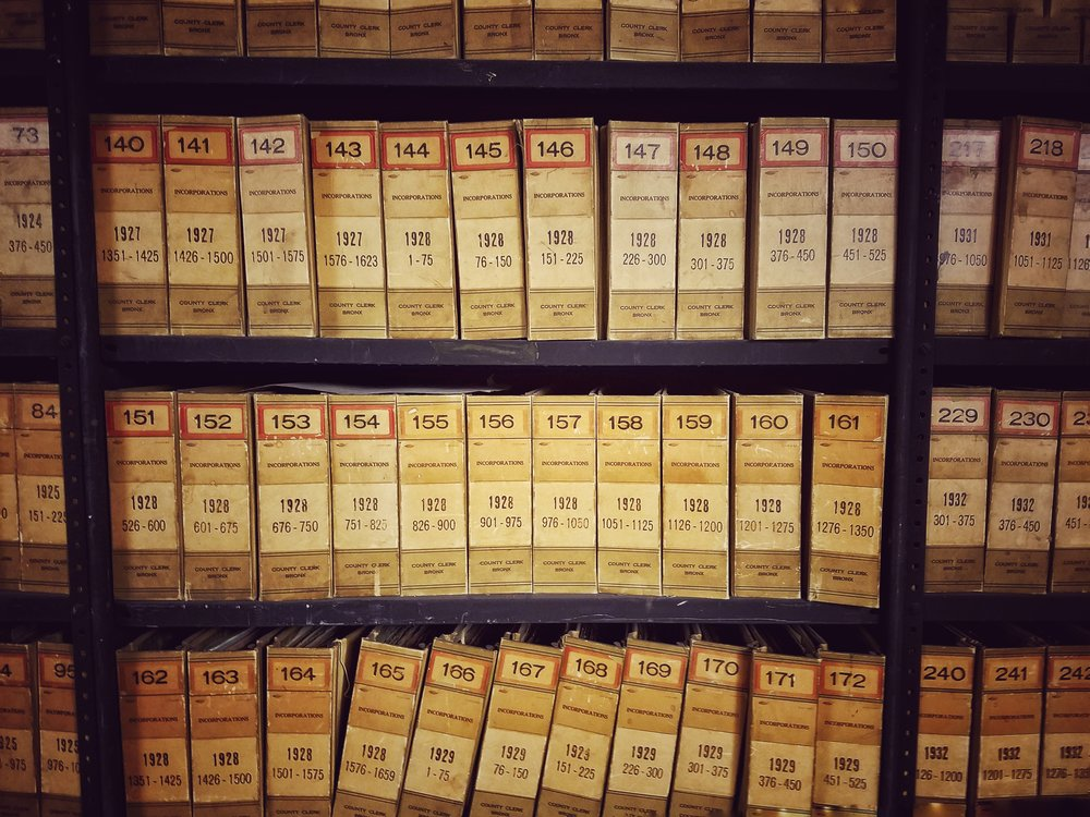 Shelves of articles of incorporation