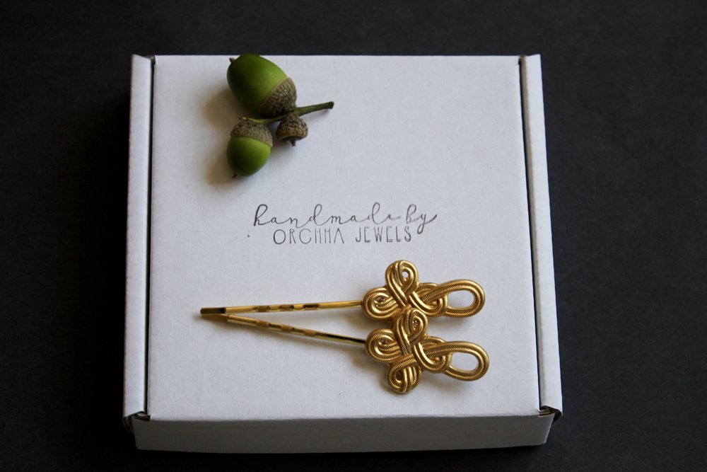 Gold celtic knot hair pins