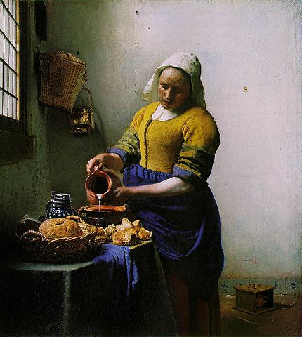 The Milkmaid (c.1658) - Painting by Johannes Vermeer  (public domain)