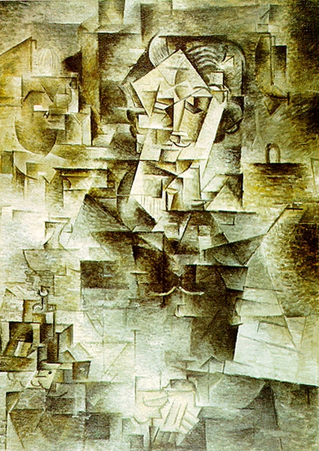 In this portrait of Picasso's art dealer, the hands and features of the face are visible, but most of the image is broken into multiple viewpoints and forms. Color is suppressed. As a portrait, the painting is almost unreadable.
