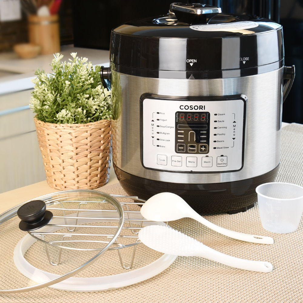 EXTRA ACCESSORIES: Includes a glass lid, extra silicone sealing ring, to start your pressure cooking journey with COSORI online recipes. The stainless steel pot includes 6 Pressure Levels for customized cooking.