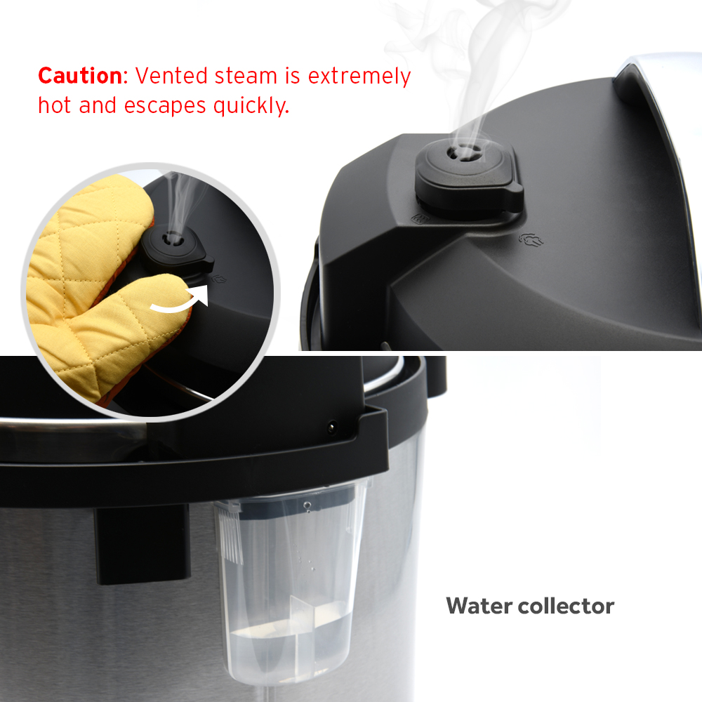 BUILT WITH FEATURES   Features a simple to use exhaust valve to release pressure after cooking. Water collector catches any moisture.