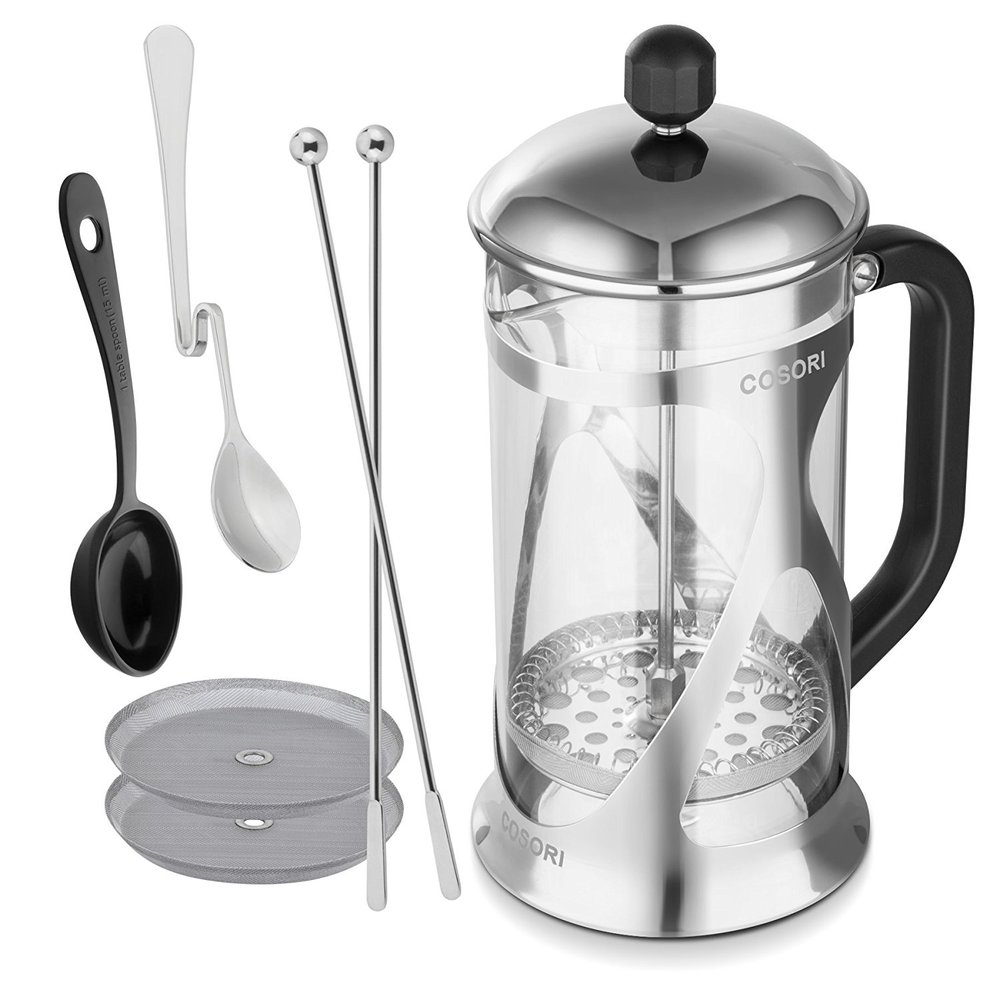 WELL-PACKAGED   Additional 2 mesh filters, 2 coffee stirrers, 1 measuring spoon, and 1 café spoon to supplement your coffee-making experience.