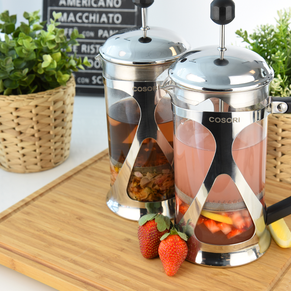 MORE THAN COFFEE   Use the french press to make fragrant and herbal teas.